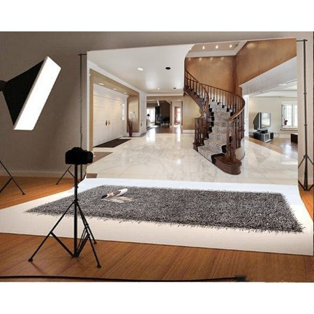 GreenDecor Polyester Fabric Luxury Home Backdrop 7x5ft Photography Backdrop Curved Staircase Hall Interior Design Room Marble Floor Lights Children Baby Kids Photos Video Studio - Backdrop Design