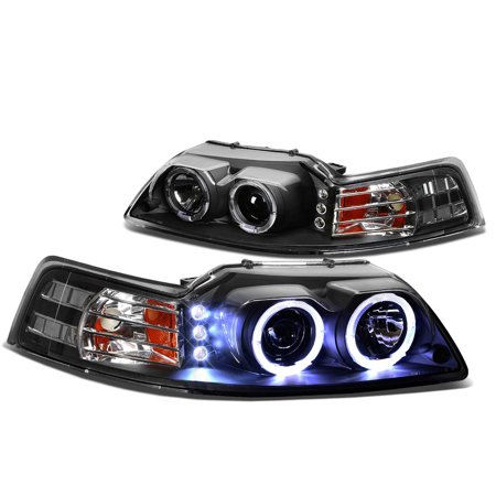 For 99 to 04 Ford Mustang SN-95 Dual LED Halo Ring Projector Headlight Black Housing Amber Corner Headlamp 00 01 02 03 Left+Right