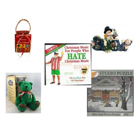 Christmas Fun Gift Bundle [5 Piece] - Musical Gift Card Holder - Crazy Mountain Snowman Family