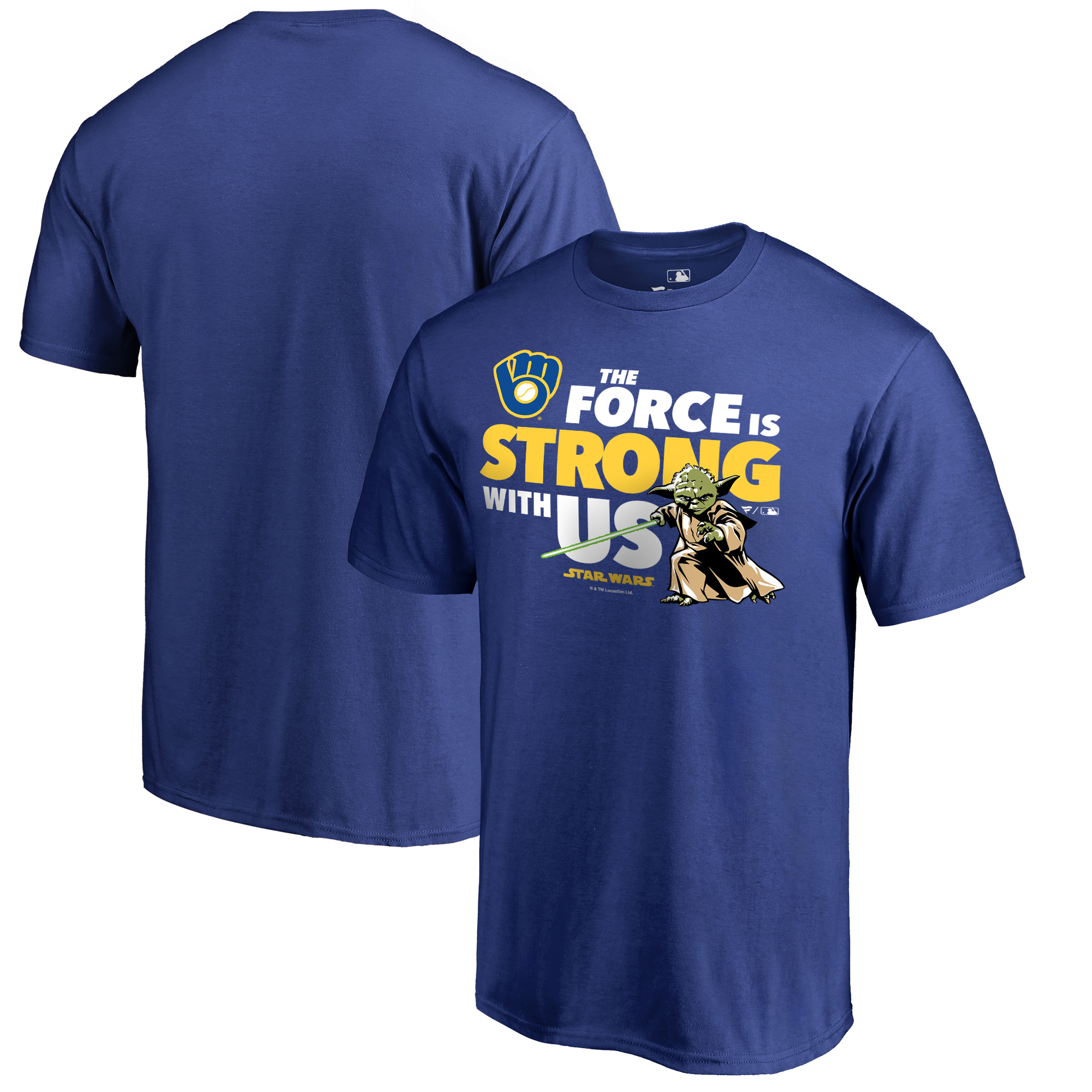 Milwaukee Brewers Fanatics Branded Star Wars Jedi Strong T-Shirt - Royal