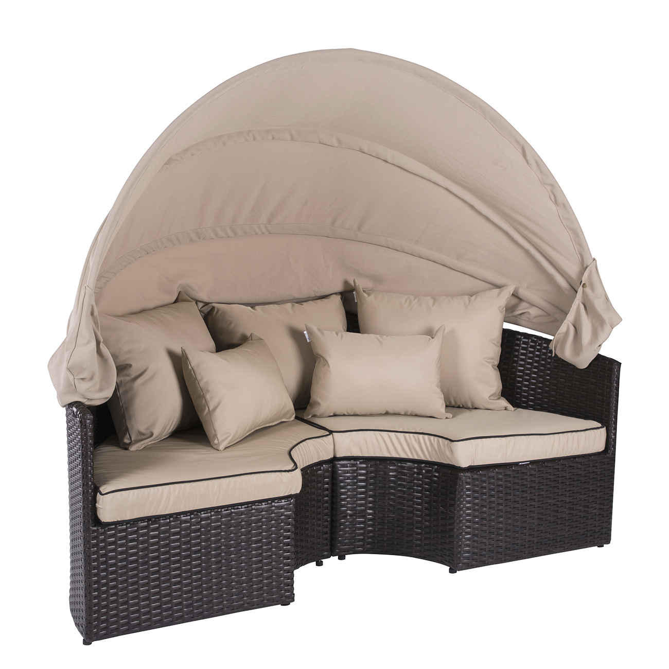 Belleze 5 pc outdoor daybed sectional round retractable canopy rattan wicker furniture sofa w cushion set walmart com