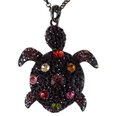 - Colorful Purple Crystal Gunmetal Sea Turtle Tortoise Pendant Necklace