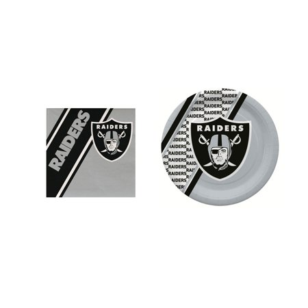 Oakland Raiders 20 Pc Disposable Paper Plates And 20 Pc Disposable Napkins - Oakland Raiders Party Supplies