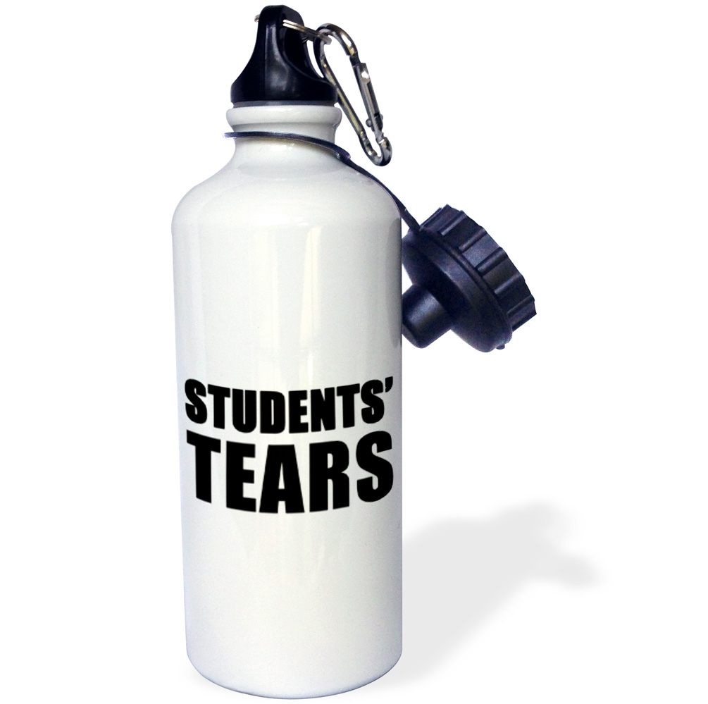 3dRose Students Tears Black, Sports Water Bottle, 21oz