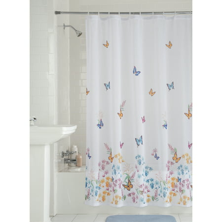 Mainstays Butterfly Fabric Shower Curtain, 1 Each ()
