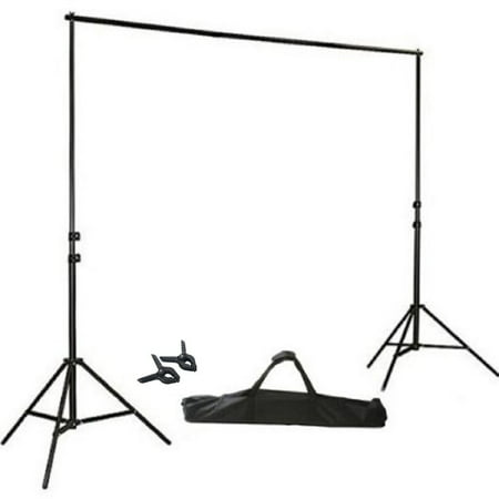 BalsaCircle Black 8 ft x 10 ft Photo Backdrop Stand Kit - Studio Background - Wedding Party Photo Booth Studio Decorations - 80s Photo Backdrop