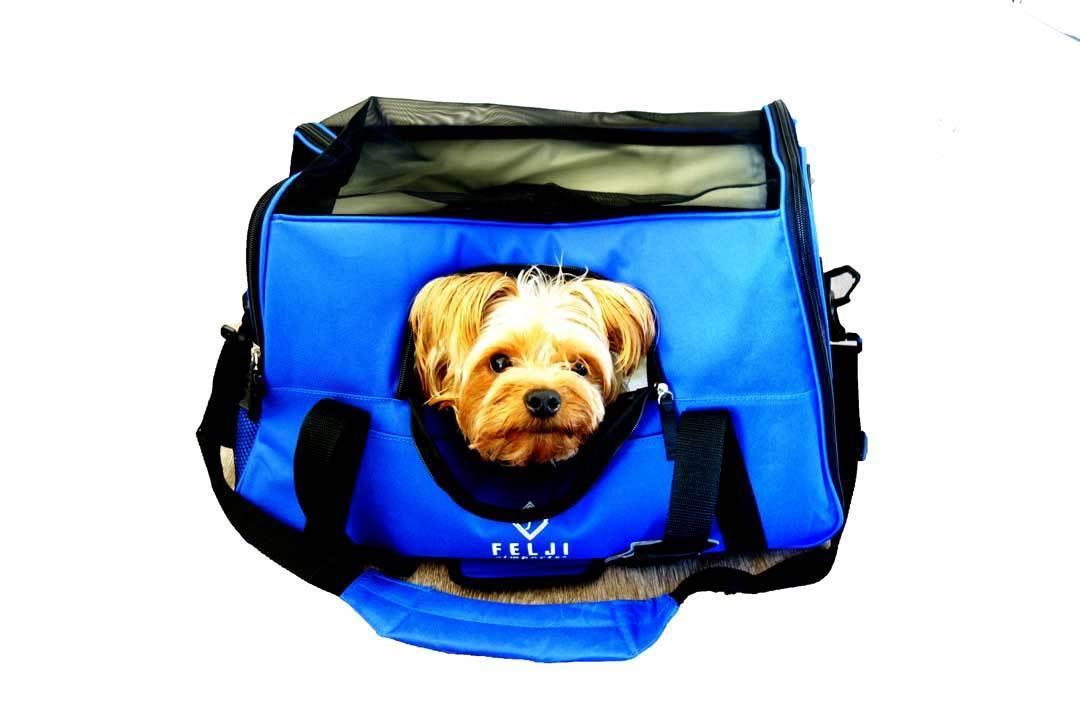 Felji Small Pet Carrier Soft Sided Cat Dog Comfort Travel Tote Shoulder Bag Blue by