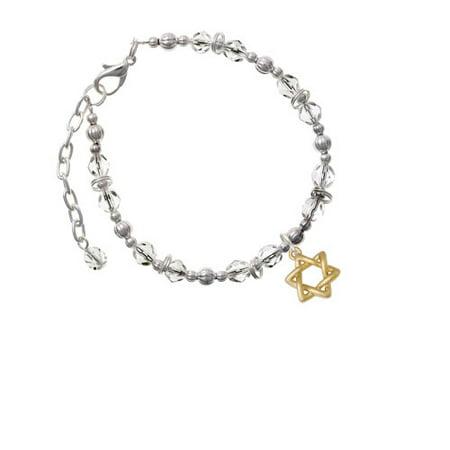 Goldtone Woven Star of David Clear Beaded Bracelet David Yurman Gold Bracelet