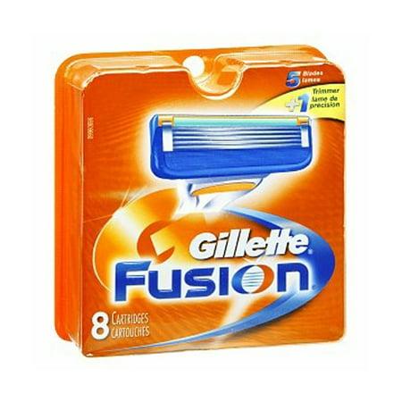 Gillette Fusion Refill Razor Blade Cartidges, 8 (White Standard Blades Set)
