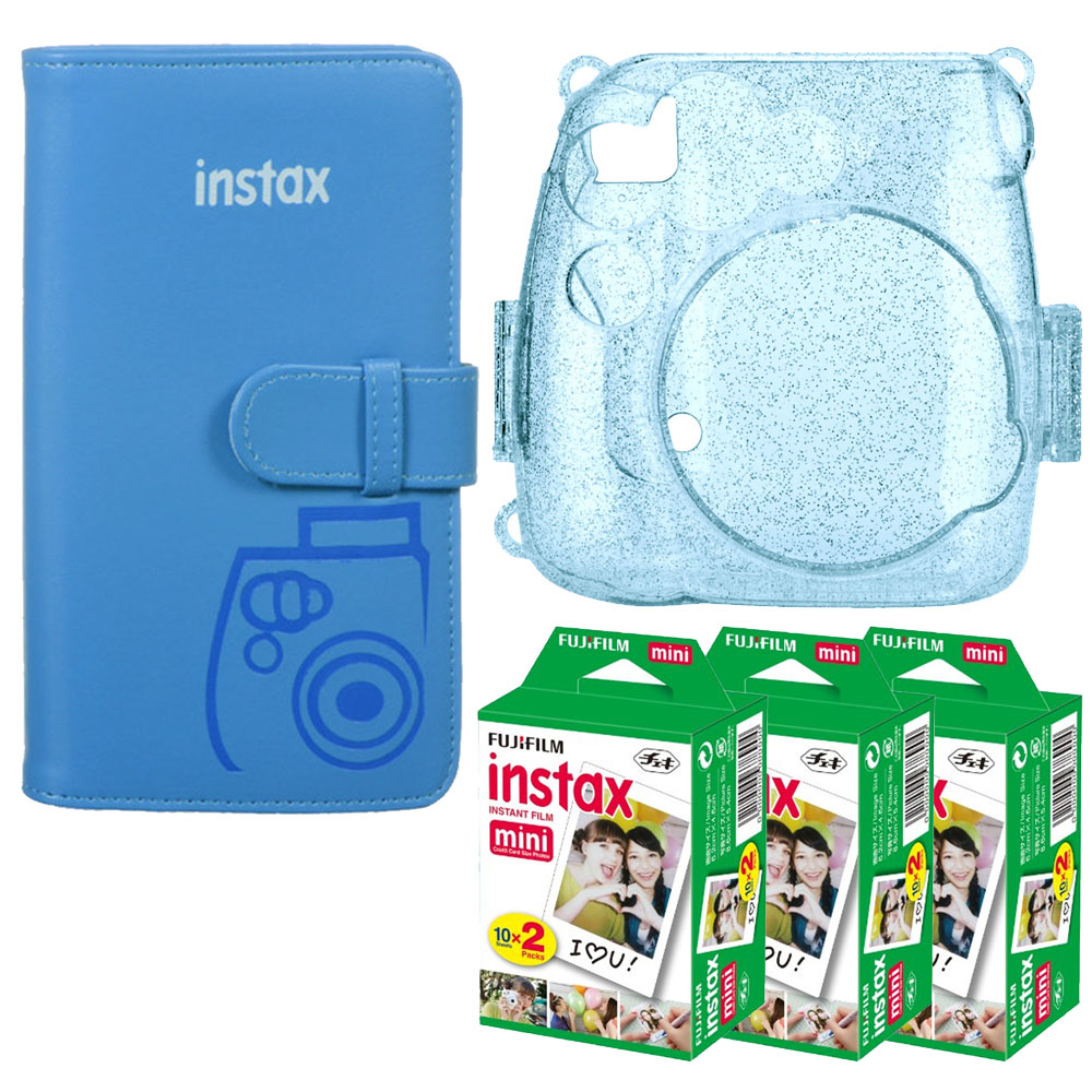 Three Essentials Kit! Fuji Pocket Wallet Album – Cobalt Blue + Trendy Cobalt Blue Glitter Hard Case for Fuji Mini-series + Fuji Instax Film Twin Pack High Quality – 3 Packs