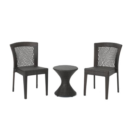 3 Piece Stacking Table (Rigby Outdoor 3 Piece Wicker Chat Set with Stacking Chairs and Hourglass Side Table, Multibrown )