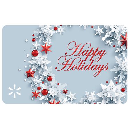 Silver & Red Wreath Walmart eGift Card