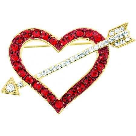 Swarovski Crystal Heart Brooch - Red Heart Swarovski Crystal Pin Brooch