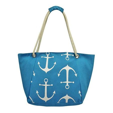 Anchor Print Canvas Beach Tote Bag