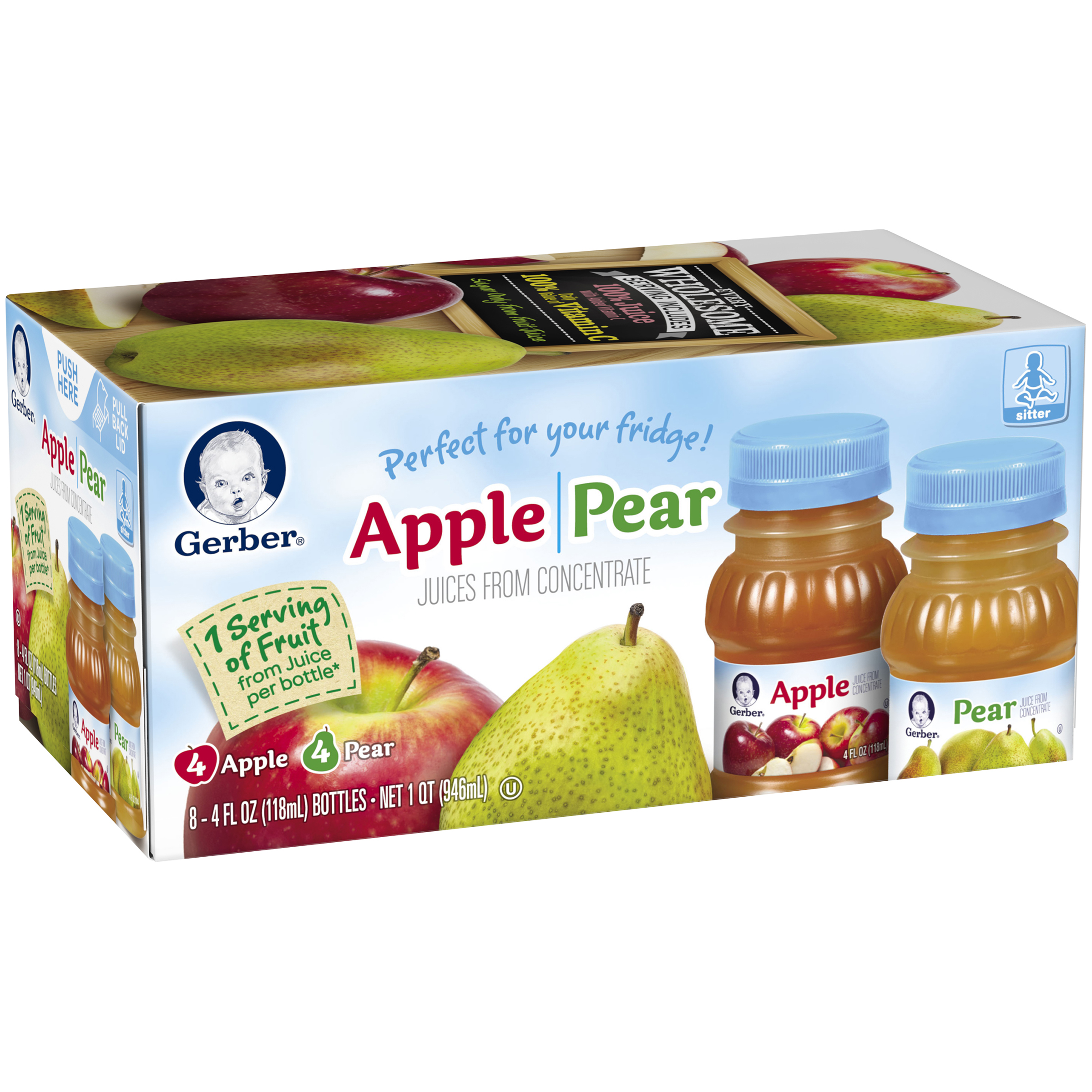 Gerber�� Apple & Pear Juice, 4 fl oz, (Pack of 8)