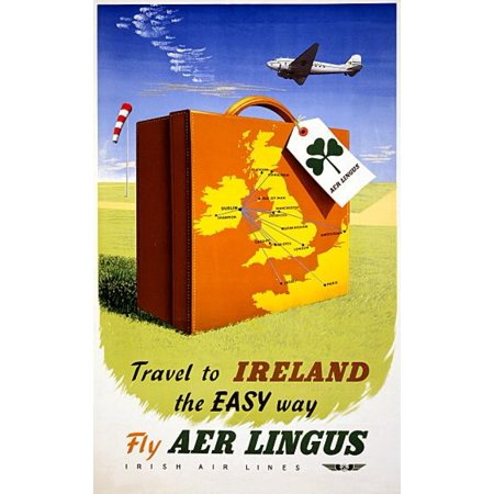 Stretched Canvas Art   Ireland The Easy Way Aer Lingus Travel   Large 24 X 36 Inch Wall Art Decor Size