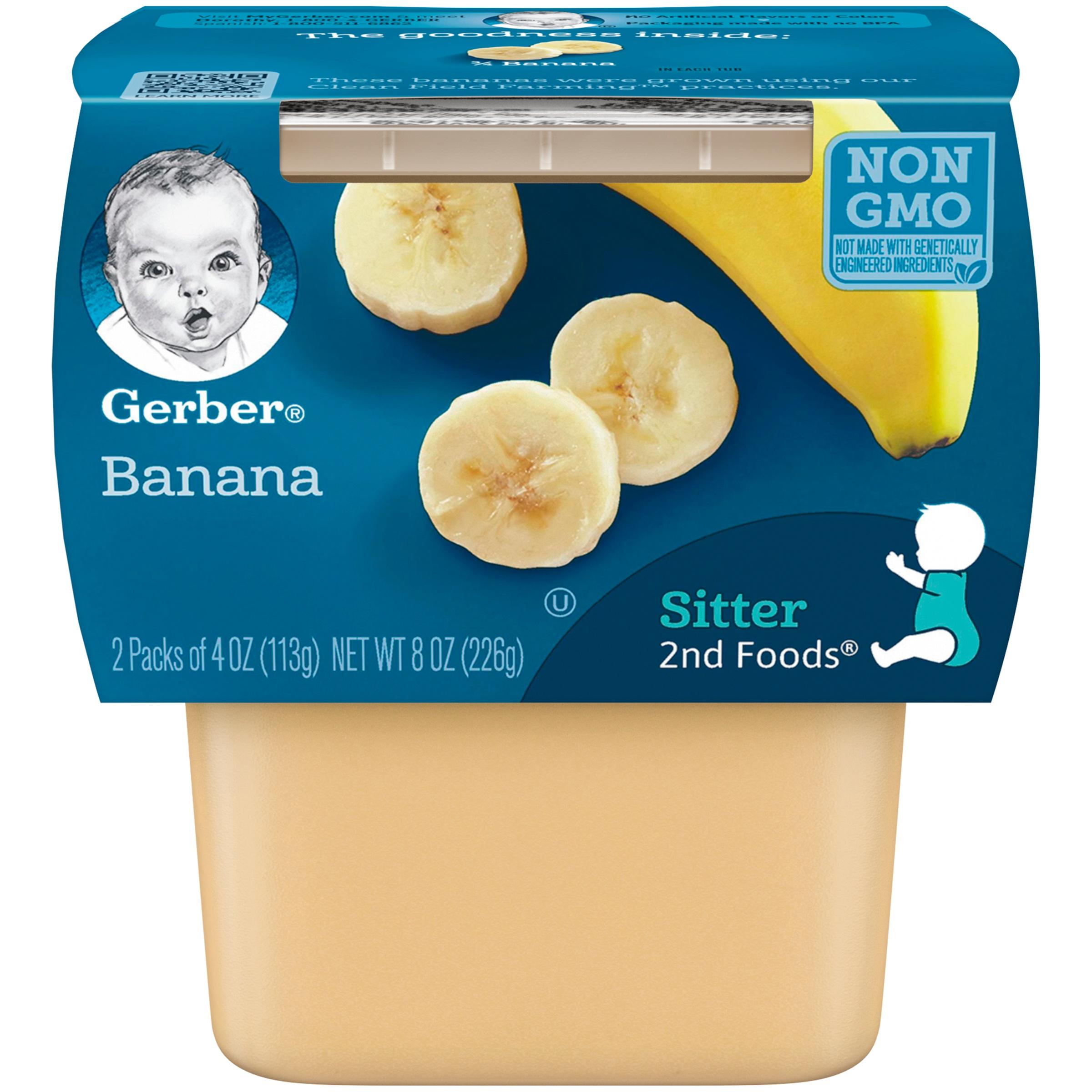 (8 Pack) Gerber 2nd Foods Bananas Baby Food, 4 oz. Tubs, 2 Count