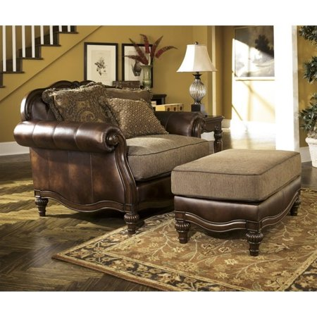 Wondrous Ashley Claremore Faux Leather Oversized Chair With Ottoman In Antique Inzonedesignstudio Interior Chair Design Inzonedesignstudiocom