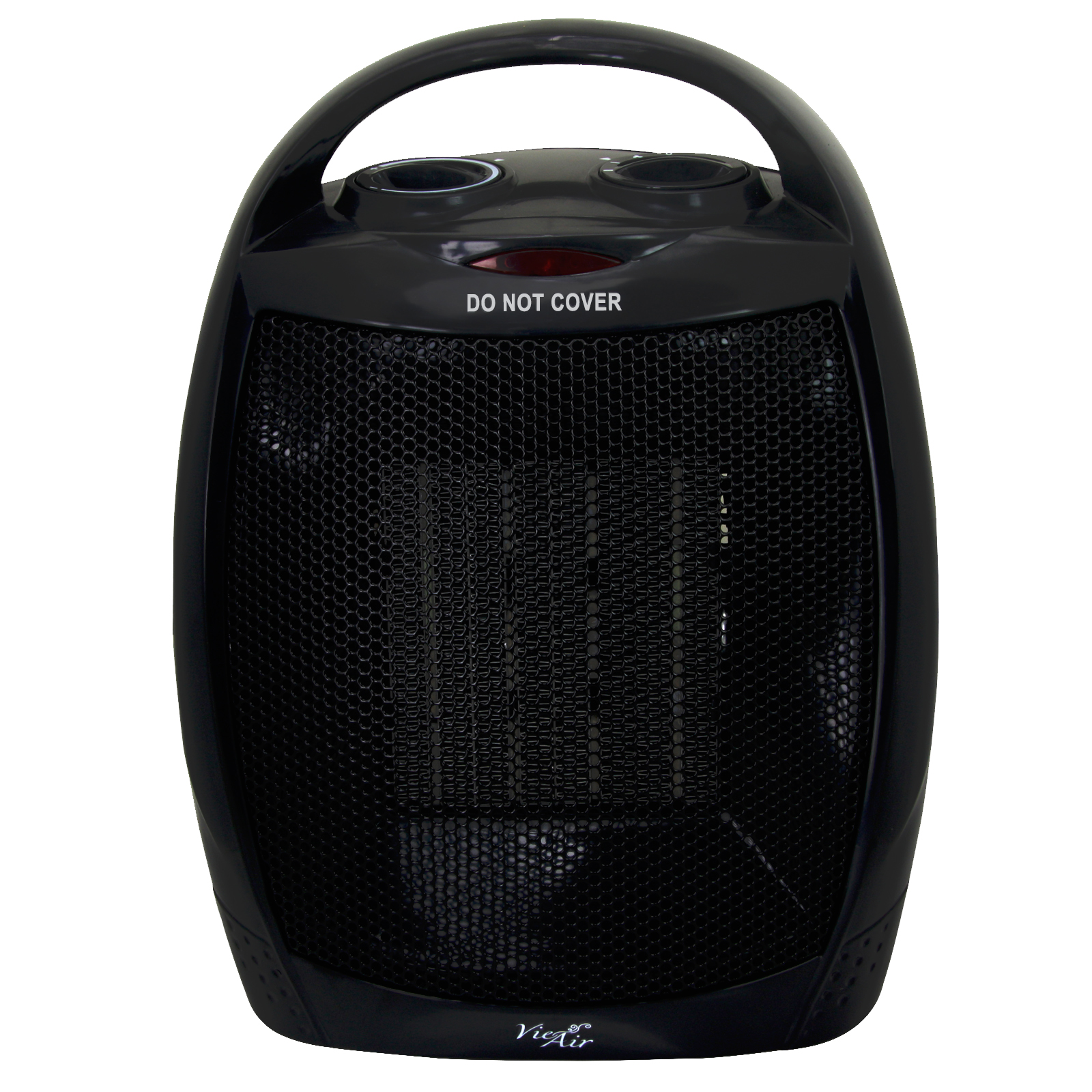 Vie Air 1500W Portable 3-Settings Black Ceramic Heater with Adjustable Thermostat