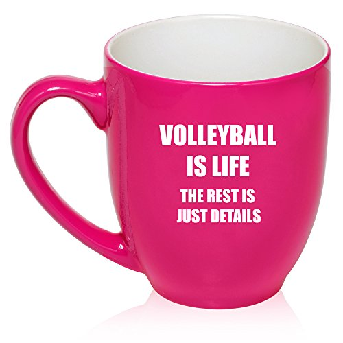 16 oz Large Bistro Mug Ceramic Coffee Tea Glass Cup Volleyball Is Life (Hot Pink)