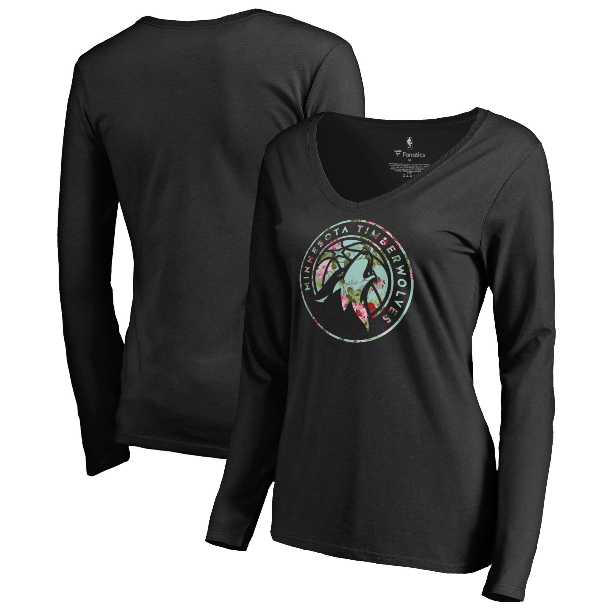 Minnesota Timberwolves Fanatics Branded Women's Lovely V-Neck Long Sleeve T-Shirt - Black