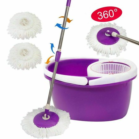 Stainless Steel Deluxe 360 Spin Mop and Bucket Floor Cleaning System with 2 Microfiber Mop Heads and Extendable Pole ()
