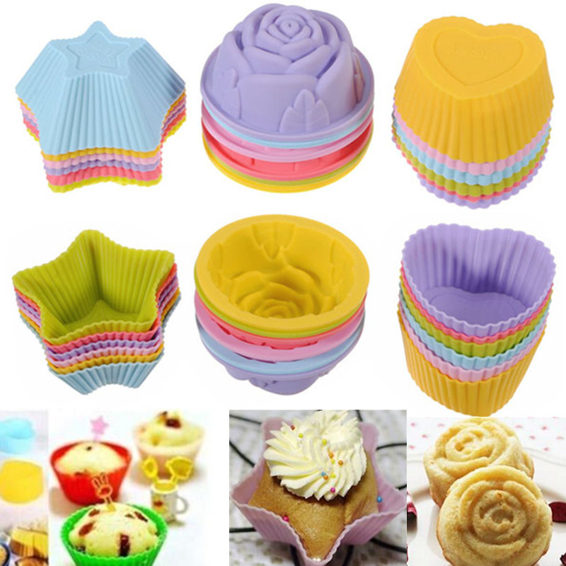 1Pcs Soft Silicone Cake Muffin Cupcake Chocolate Bakeware Baking Cup Mold Cake Decorating Supplies,Rose color