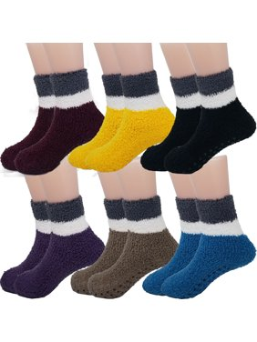 DEBRA WEITZNER Toddlers Non Skid Slipper Socks With Grips Fuzzy Socks For Kids 2tone Dark 2-4 yr 6 Pairs