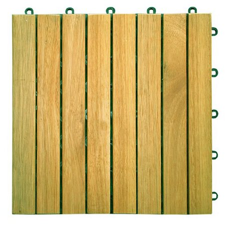 8 Slat Acacia Interlocking Deck Tile (Teak Finish)