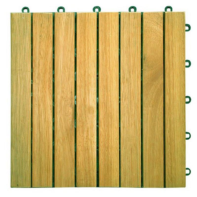 8 Slat Acacia Interlocking Deck Tile (Teak Finish)