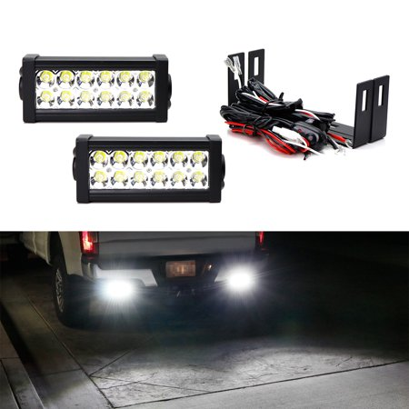 iJDMTOY (2) High Power Double Row Mini LED Light Bars w/ Rear Bumper Frame Mounting Brackets, Wiring Relay Harness For 2009-18 Dodge RAM 1500 2500