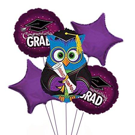 Graduation School Cap Maroon Balloon Bouquet
