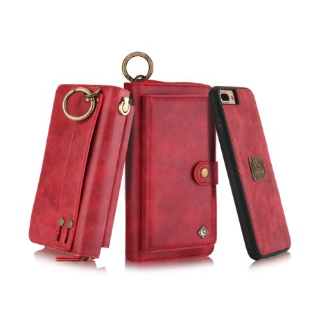 iPhone 8 Plus, iPhone 7 Plus Wallet Case, Alleytech Girls Women Magnets Detachable Zipper Wallet Case Cover PU Leather Carrying Case for Apple iPhone 7 Plus 2016 / iPhone 8 Plus 2017, Red (Apple Iphone Carrying Case)