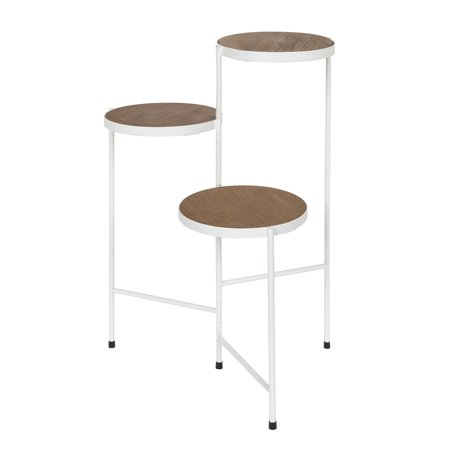 Kate And Laurel Fields Tri Level Metal Wood Plant Stand Rustic Brown White