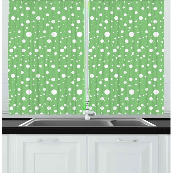 Green Curtains 2 Panels Set, Painters Wall Inspired Big Rounds Spots on a Vivid Backdrop Modern Image, Window Drapes for Living Room Bedroom, ...