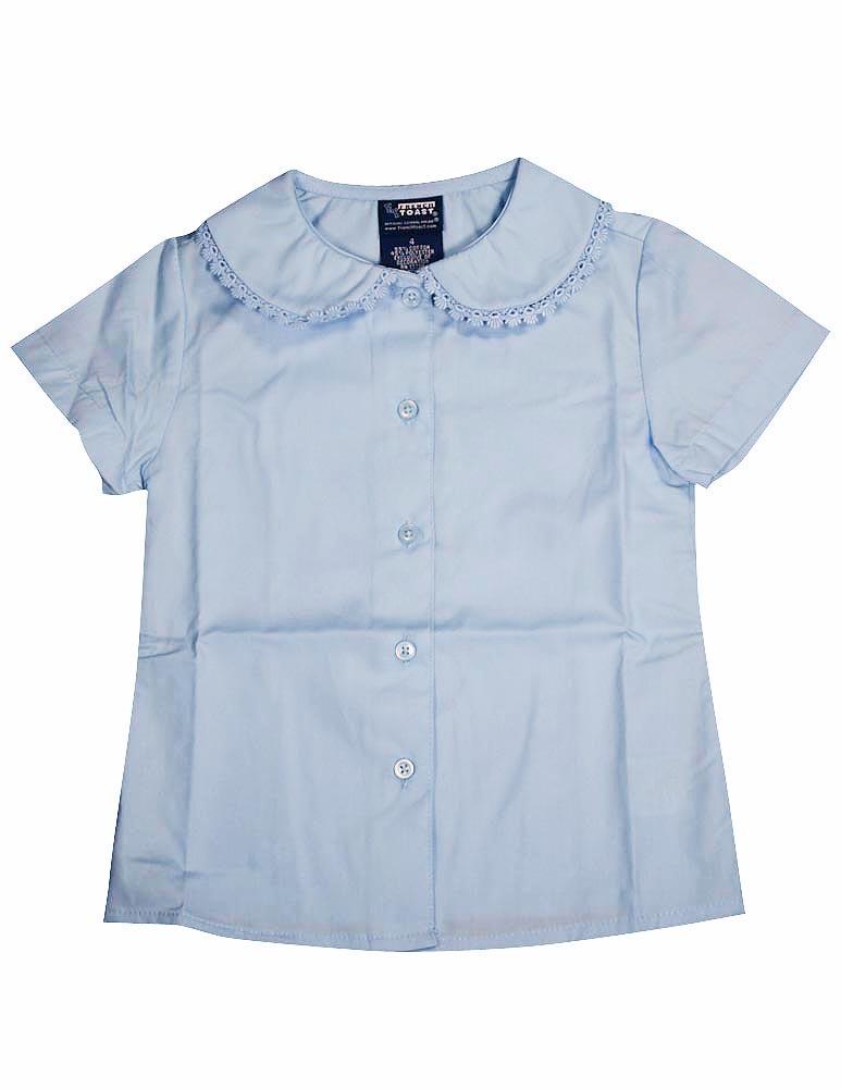 French Toast Girls 4-6X Short Sleeve Lace Blouse (Light Blue - 4)