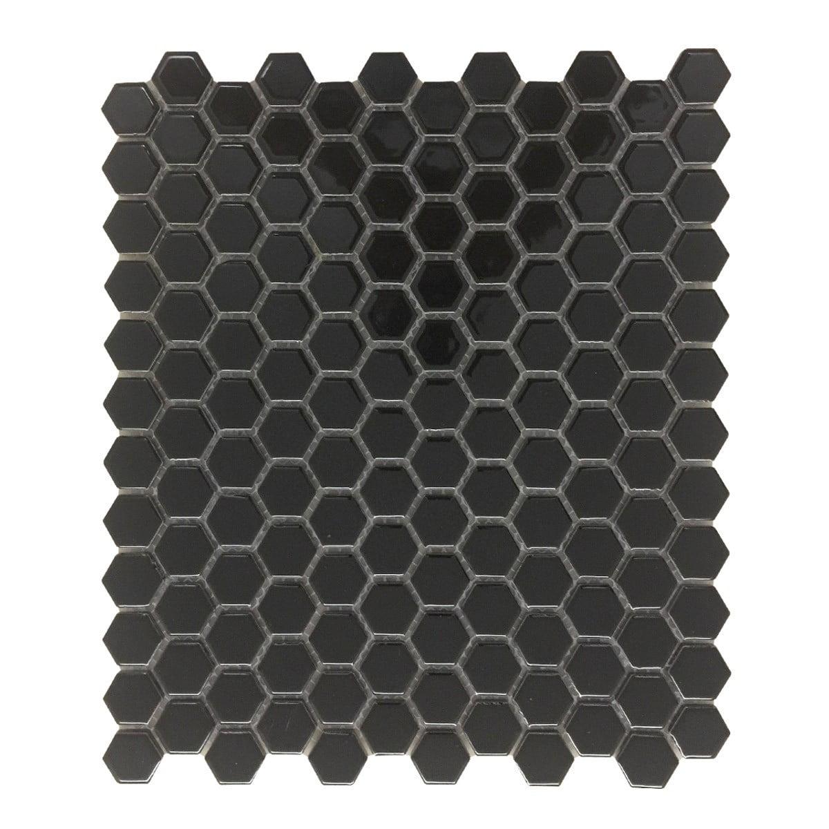 "Black Glossy Porcelain Mosaic Hexagon Floor Wall Tile 1 Sheet 10.25"" x 11.8"""