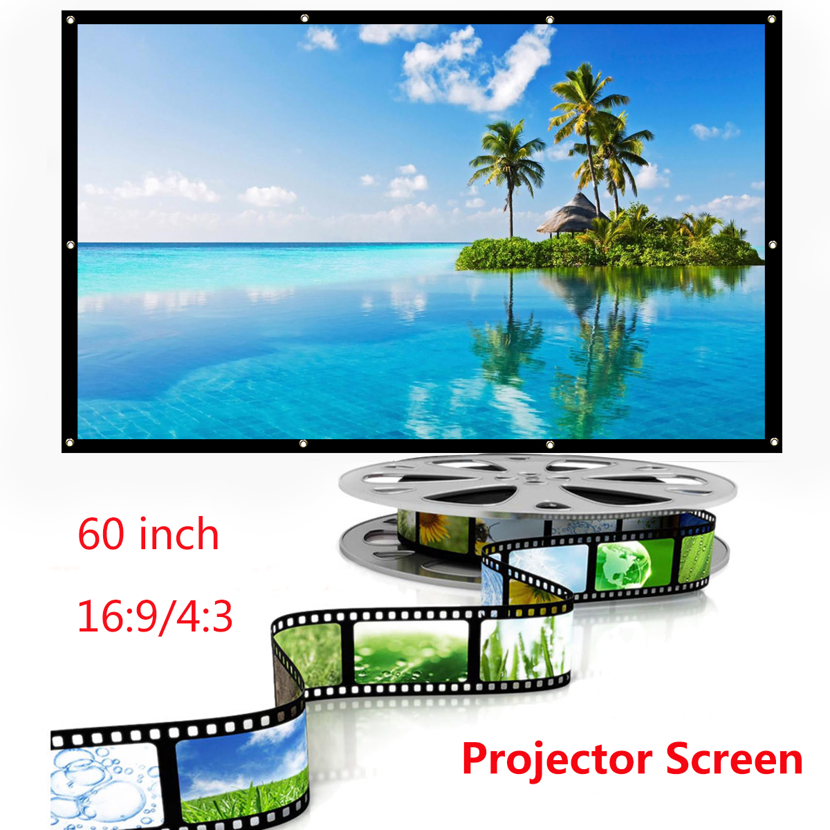 60inch 4:3 16:9 Outdoor Portable Collapsible Projector Screen Manual Pull Down Projector For Home Film Theater Movie Cinema Outdoor Office