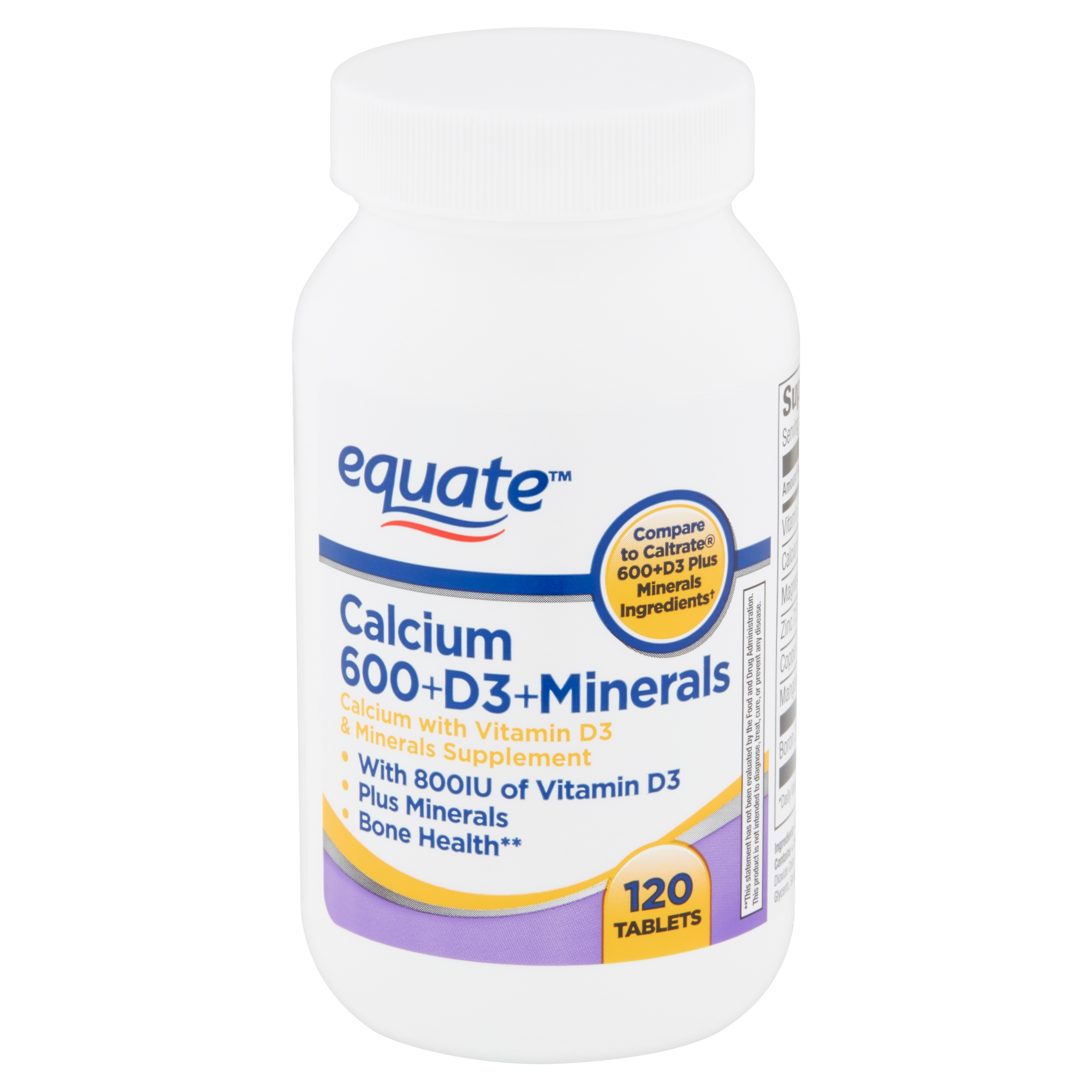 Equate Calcium 600+D3+Minerals Tablets, 120 count