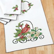 Herrschners Winter Stained Glass Table Runner & Napkins Stamped Cross-Stitch