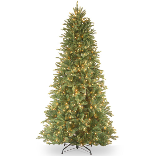 National Tree Pre-Lit 7-1/2' Feel-Real Tiffany Fir Slim Hinged Artificial Christmas Tree with 600 Clear Lights