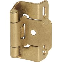 1/2in (13 mm) Overlay Self-Closing, Partial Wrap Burnished Brass Hinge - 2 Pack