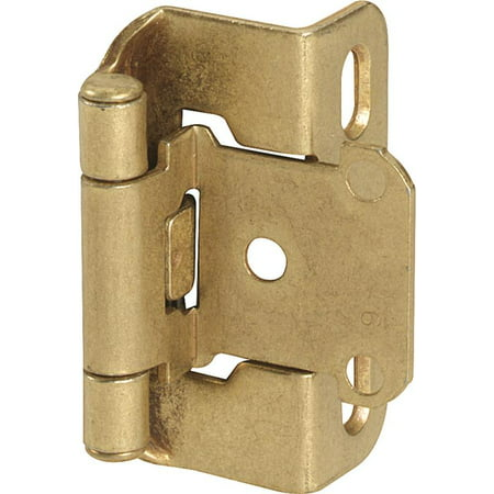 1/2in (13 mm) Overlay Self-Closing, Partial Wrap Burnished Brass Hinge - 2 (Gold Silver Bronze Brass Iron Mixed With Clay)