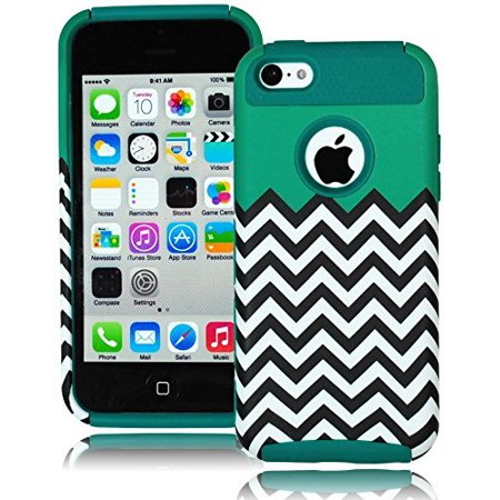 Bastex Heavy Duty Hybrid Case for Apple iPhone 5C, 5th Generation - Teal Silicone Gel Cover / Teal & Chevron Design Hard Shell