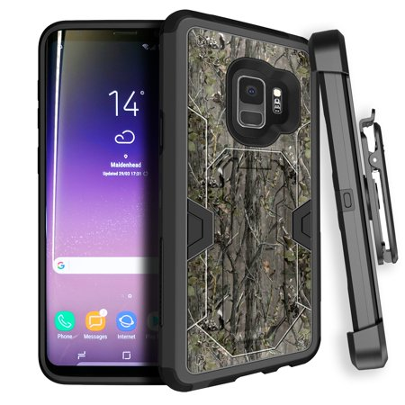 Samsung Galaxy S9 Holster Case [MINITURTLE MAX DEFENSE Case for Galaxy S9 SM-G960] Hybrid Silicone High-Impact Heavy Duty Kickstand Case + Holster Clip Case for Galaxy S9 2018 - Branch Camo](Mini Turtles)