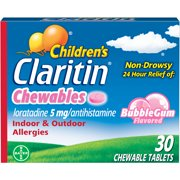 Claritin Allergy Medicine for Kids, Bubblegum Chewable Tablets, 30 Ct