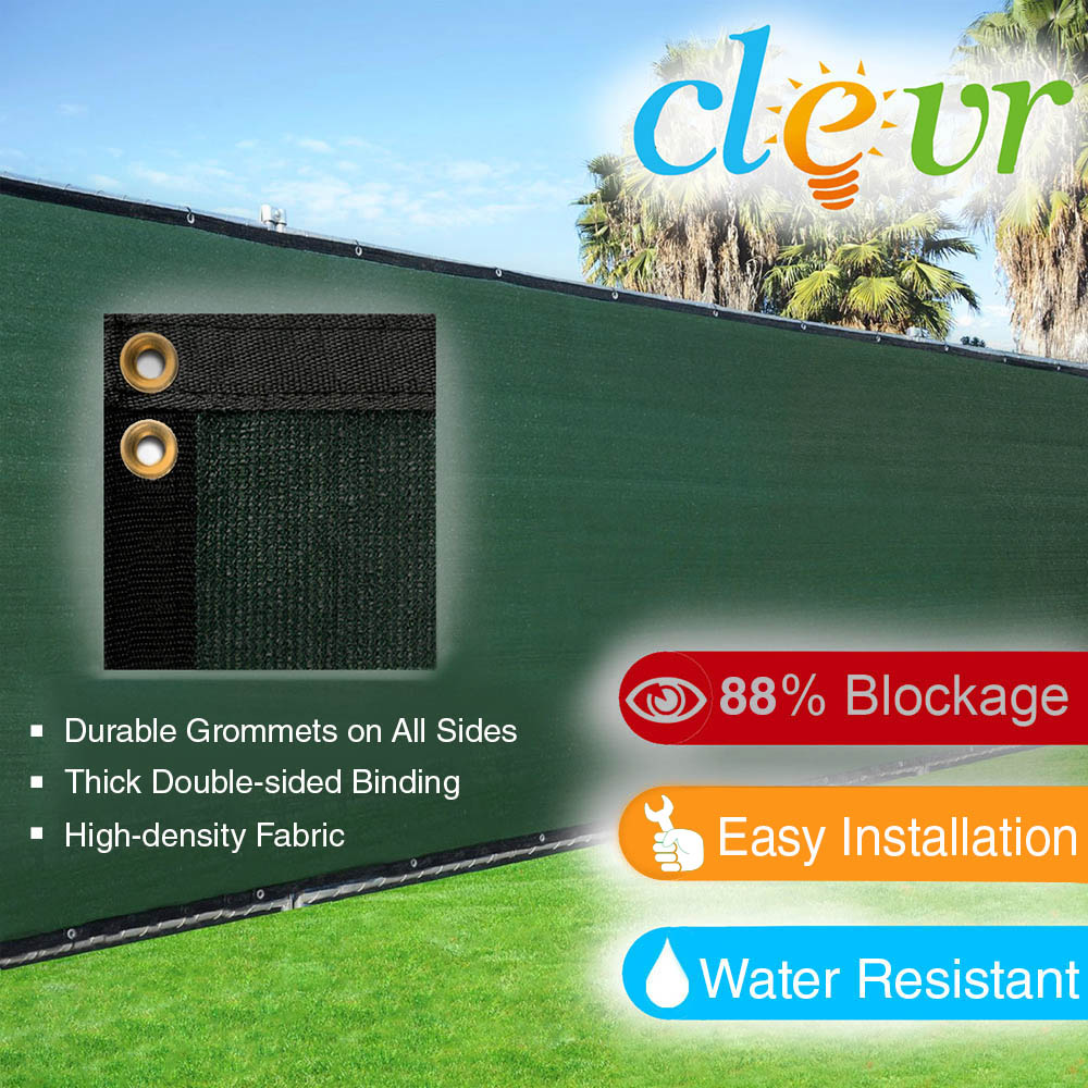 Clevr Green Commercial Grade Wind Privacy Screen Mesh with Grommets for 6' x 50' Fences |... by Clevr