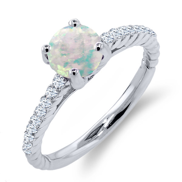 0.87 Ct Round White Simulated Opal White Created Sapphire 925 Silver Ring by
