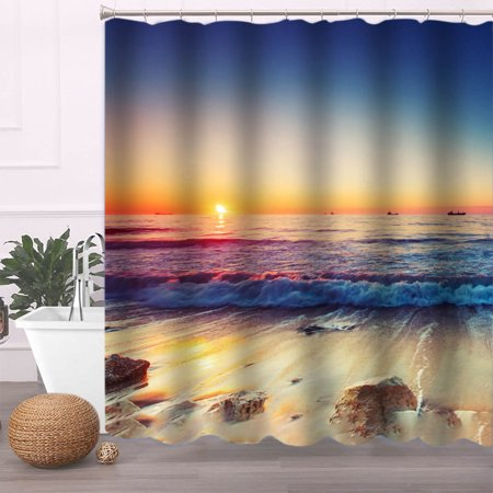70.8x70.8 Inches Waterproof Bathroom Shower Curtain Toilet Cover Mat Non-Slip Rug Set &12