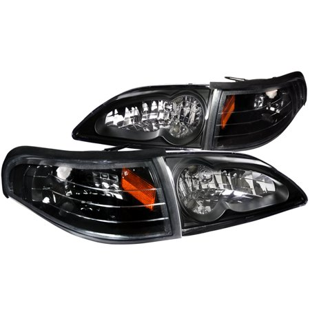 1996 Ford Taurus Headlight - Spec-D Tuning For 1994-1998 Ford Mustang Euro Black Crystal Headlights + Turn Signal Corner Lamps (Left + Right) 1994 1995 1996 1997 1998